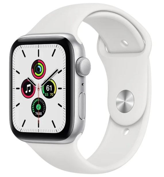Apple Watch SE GPS 44mm Silver Aluminum White Sport Band
